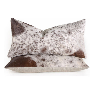 Spotted Cowhide Pillow - Add natural pattern to your interior with these lovely brown spotted cowhide pillows. They are backed in natural linen, fitted with a medium-fill feather and down insert and finished with a hidden zipper. Cowhide is a natural material, please allow for slight variation in pattern and coloration.