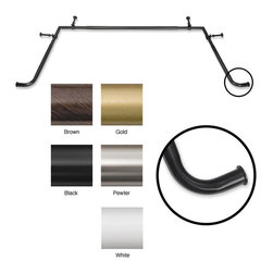 None - Bay Window 5/8-inch Adjustable Rod Set - Use this large adjustable curtain rod to ensure that you can hang curtains on your bay window securely. It will allow curtains to drape the edge of the window properly so that you can be sure no one can see inside your home when you want discretion.