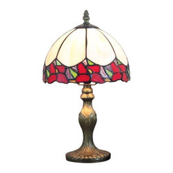 ParrotUncle - Stained Glass Small Decorative Bent Table Lamp - Add a touch of gracefulness and vibrancy to your home decor with this Tiffany-style table lamps that contains an multicolored glass shade and a sturdy resin base. Each pieces of the stained glass of the lampshade is individually cut, wrap around copper foil and then assembled together. It glows beautiful light and looks fantastic on nightstand or table beside sofa.