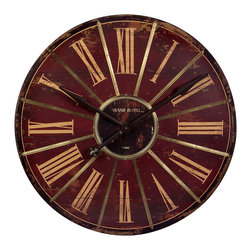 IMAX Imports - Large Red Wall Clock - Savor the vintage design of this attractive home accent that's sure to blend flawlessly with any traditional home decor. Beautifully weathered with a generous clock face, this wall clock makes it easy to decorate with style.