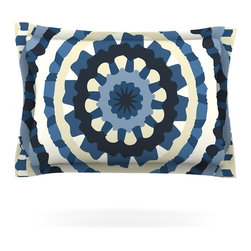 "Kess InHouse - Laura Nicholson ""Ribbon Mandala"" Navy Tan Pillow Sham (Cotton, 30"" x 20"") - Pairing your already chic duvet cover with playful pillow shams is the perfect way to tie your bedroom together. There are endless possibilities to feed your artistic palette with these imaginative pillow shams. It will looks so elegant you won't want ruin the masterpiece you have created when you go to bed. Not only are these pillow shams nice to look at they are also made from a high quality cotton blend. They are so soft that they will elevate your sleep up to level that is beyond Cloud 9. We always print our goods with the highest quality printing process in order to maintain the integrity of the art that you are adeptly displaying. This means that you won't have to worry about your art fading or your sham loosing it's freshness."