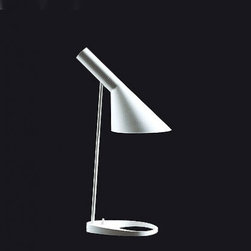 """Louis Poulsen - Louis Poulsen AJ table light - The AJ table light fromLouis Poulsen has been designed by Arne Jacobsen. This table mounted luminaire is great for incandescent lighting. The AJ is composed of a spun steel shade and stem with the base in die cast zinc. In-line on/0ff foot switch is located in the base. AJ table creates direct and angled illumination. The lighting characteristics make it suitable when placed in a situation where distinct and directed illumination is required.  Product Description   The AJ table light fromLouis Poulsen has been designed by Arne Jacobsen. This table mounted luminaire is great for incandescent lighting. The AJ is composed of a spun steel shade and stem with the base in die cast zinc. In-line on/0ff foot switch is located in the base. AJ table creates direct and angled illumination. The lighting characteristics make it suitable when placed in a situation where distinct and directed illumination is required.  Details:        Manufacturer:     Louis Poulsen      Designer:    Arne Jacobsen      Made in:    Denmark      Dimensions:     Height: 22.0"""" (55.9 cm) Diameter: 8.5"""" (21.6 cm)      Light bulb:     1 x 60W incandescent      Material:     Steel, Handblown glass, Zinc"""