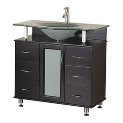 "Design Element - Design Element Huntington Espresso Modern Single Sink Vanity Set - 36"" - The Huntington 36"" Vanity Set is elegantly constructed of solid hardwood. The integrated tempered glass counter top and flowing curved design bring contemporary elegance to any bathroom. The seamless oval drop in sink beautifully showcases the frosted counter top. This unique design includes a soft closing cabinet with six drawers all adorned with chrome finish hardware. The Huntington Bathroom Vanity is designed as a center piece to awe-inspire the eye without sacrificing quality, functionality or durability."