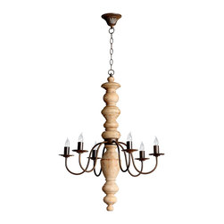 Wilshire Chandelier - Rustic refinement illumes your home with the Wilshire 6-Light Chandelier. White oak is handsomely juxtaposed with iron curvature that holds six candle flame lights. Eschewing excessive adornment and ornamentation, the chandelier instead presents a refined form that befits an eclectic great room, a reimagined farmhouse dining room, a staircase landing, or a grand hallway.