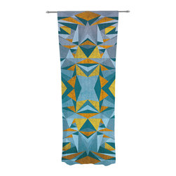 """Kess InHouse - Nika Martinez """"Abstraction Blue & Gold"""" Decorative Sheer Curtain - Let the light in with these sheer artistic curtains. Showcase your style with thousands of pieces of art to choose from. Spruce up your living room, bedroom, dining room, or even use as a room divider. These polyester sheer curtains are 30"""" x 84"""" and sold individually for mixing & matching of styles. Brighten your indoor decor with these transparent accent curtains."""