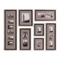 Uttermost - Uttermost 14458  Massena Photo Frame Collage, S/7 - This collection of frames features a lightly antiqued silver leaf finish with a matte black liner. photos are surrounded by oatmeal linen mats. may be hung horizontal or vertical. holds photo sizes: 11-4x6,1-8x10,4-5x7