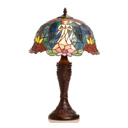 Warehouse of Tiffany - Tiffany-style Angel Table Lamp - Handcrafted using methods first developed by Louis Comfort Tiffany