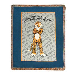 """Manual - I Believe in Auburn"""" University Tapestry Throw Blanket 60 Inch x 50 Inch - This 60 inch long, 50 inch wide tapestry style throw blanket is an excellent accent piece for any fan, student or alumnus of Auburn University. Made of 100% polyester, the blanket has 1 1/2 inch long fringe on all four sides. It features the Auburn Tiger mascot in the center, with I Believe in Auburn and Love It above it and War Eagle repeatedly printed in the background. This blanket is proudly made in the USA. It looks great on chairs, couches, and beds in your home."""