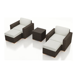 Harmonia Living - Arden 5 Piece Outdoor Club Chair Set, Canvas Natural Cushions - Relax in contemporary style with the 5 Piece Arden Club Chair Set with White Sunbrella Cushions (SKU HL-ARD-CH-5CC-CN). With roomy chairs designed for cozy seating for you and your guests, this collection features rich colors with a stylish, modern design to give your outoor space an inviting appeal. Each set piece is constructed with thick-gauged aluminum frames, meaning they will last for years without corroding. The seat and back cushions are covered in mildew- and fade-resistant Canvas Natural fabric by Sunbrella, which include ties to keep them in place. Each strand in the set's sturdy High-Density Polyethylene (HDPE) wicker is infused with a coffee bean color and UV protection, creating a modern wicker look that will not fade or crack in the sun. The tables are topped with a tempered glass to give it a practical, easy-clean surface. To top it all off, beautiful teak wood feet are outfitted with plastic glides, allowing you to rearrange your set to whatever configuration suits your needs.