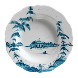 Country Estate Delft Blue Pasta/Soup Bowl - Mimicking the treasured look of traditional blue and white porcelain with its Delft Blue painted strokes, but taking a romantically natural approach to the lake scene it depicts with soft waves and a sophisticated use of asymmetry, the Country Estate Pasta and Soup Bowl makes the most of your table with a wide scalloped edge. This elegant porcelain bowl will become a prize of your collection.