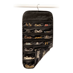 Richards Homewares - Richards Homewares Satin Thirty Seven Pocket Jewelry Organizer-Black - Jewelry organizer has 37 different pockets to protect and store all kinds of jewelry. Has clear pocket for easy selection and can store either on a closet rod or hook. With zippered closures, make for a great travel jewelry organizer too.