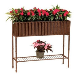 Deer Park Ironworks Solera Planter with Tin Liner - Show off your favorite plants and flowers, along with your prowess in the garden, with the beautiful Deer Park Ironworks Solera Planter with Tin Liner. Available in your choice of size, this planter features a rich, natural patina appearance that shows off the natural beauty and colors of your plants and flowers. Made from durable, heavy gauge metal construction, this planter can be used indoors or out. Its bottom shelf is perfect for adding a decorative touch or storing a few extra flowers to add a splash of color to your decor.About Deer Park Ironworks, LLCYou'll immediately recognize a yard that's been appointed with pieces from Deer Park, thanks to the classic wrought iron designs and traditional finish that has made them an power player in the outdoor furniture industry. Dedicated to creating value for their customers with durable, quality pieces of functional and ornamental wrought iron, Deer Park continues to provide timeless designs while never sacrificing customer service and satisfaction as their pursue their corporate goals.