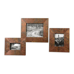 Uttermost - Ambrosia Copper Photo Frames Set of 3 - Frames feature oxidized copper sheeting.
