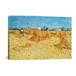 Vincent van Gogh Canvas Print, Harvest in Provence - Museum-quality canvas print by Vincent van Gogh gallery wrapped and ready for wall hanging with no additional framing required. The canvas print is remarkably bright in color and unrivaled in detail with quality ink that has been light-tested to last over 100 years!