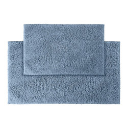 None - Grace Sky Blue Cotton 2-piece Bath Rug Set - Add a gracious note of comfort to the bath or shower with the Grace Cotton collection of bath runners and rugs. The soft loop pile of these two blue rugs is 100-percent cotton and the classic design blends with any decor.