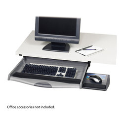 "Safco - Ergo-Comfort Premium Underdesk Keyboard Drawer - Charcoal - Don't let your keyboard and mouse get in the way. Heavy-duty molded plastic keyboard drawer mounts directly under any surface enabling valuable desk space to be freed up for other activities. Drawer locks into keying position on ball bearing glides for smooth movement in and out. Unit features three height positions with two tilt adjustments. Mouse tray easily slides out for right or left hand use. Clear Lexan mousing surface lifts up to display meeting reminders, memos or personal photos. Soft-grip drawer handle provides easy access to the keyboard drawer. Padded wrist rest is removable to accommodate ergonomic keyboards. Mounting area measures 25-1?8""W x 16""D. Mounting hardware is included. Black keyboard and mouse wrist rests.; Features: Material: Plastic; Color: Charcoal; Finished Product Weight: 8 lbs.; Assembly Required: Yes; Tools Required: Yes; Limited Lifetime Warranty; Dimensions: 23 1/4""W x 20 1/4""D x 3 3/4"" to 5 1/4""H"