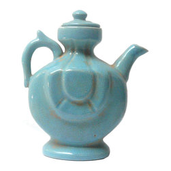 Golden Lotus - Chinese Blue Crackle Ceramic Pottery Jar Teapot Display - This is a hand made pottery teapot shape display  in crackle pattern blue color