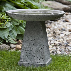 Campania International - Campania International Halifax Cast Stone Bird Bath - B-129-AL - Shop for Garden Bird Baths from Hayneedle.com! About Campania InternationalEstablished in 1984 Campania International's reputation has been built on quality original products and service. Originally selling terra cotta planters Campania soon began to research and develop the design and manufacture of cast stone garden planters and ornaments. Campania is also an importer and wholesaler of garden products including polyethylene terra cotta glazed pottery cast iron and fiberglass planters as well as classic garden structures fountains and cast resin statuary.Campania Cast Stone: The ProcessThe creation of Campania's cast stone pieces begins and ends by hand. From the creation of an original design making of a mold pouring the cast stone application of the patina to the final packing of an order the process is both technical and artistic. As many as 30 pairs of hands are involved in the creation of each Campania piece in a labor intensive 15 step process.The process begins either with the creation of an original copyrighted design by Campania's artisans or an antique original. Antique originals will often require some restoration work which is also done in-house by expert craftsmen. Campania's mold making department will then begin a multi-step process to create a production mold which will properly replicate the detail and texture of the original piece. Depending on its size and complexity a mold can take as long as three months to complete. Campania creates in excess of 700 molds per year.After a mold is completed it is moved to the production area where a team individually hand pours the liquid cast stone mixture into the mold and employs special techniques to remove air bubbles. Campania carefully monitors the PSI of every piece. PSI (pounds per square inch) measures the strength of every piece to ensure durability. The PSI of Campania pieces is currently engineered at approxim