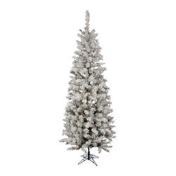 """Vickerman - Flocked Pacific 300LED Multi (7.5' x 36"""") - 7.5' x 36"""" Flocked Pacific Pencil Tree 438 PVC tips, 300 LED 7-Multi-color Italian Lights, with metal stand. Utilizes energy-effiecent, durable LED technology."""