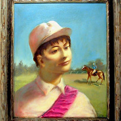 Timothy Phillips, Race Track (Jockey Portrait), Oil Painting - Artist:  Timothy Phillips