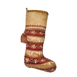 PRODUCTS   Christmas Stockings and Stocking Holders - Balsam Hill Noel Burgundy and Gold Stocking
