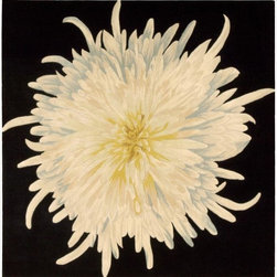 Nourison - Nourison Hand-tufted Black/Ivory Bloom Rug (5' x 5') - This appealing rug is meticulously hand crafted and then hand carved for a final touch of opulence. With its vibrant blue,yellow and ivory,this design will bring a striking and imaginative fashion accent to any decorating environment.