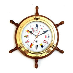 Bey-Berk Brass Porthole Clock on Oak Ships Wheel with Nautical Numbers - Tarnish - Wave your semaphores to coordinate with your Bey-Berk Brass Porthole Clock on Oak Ships Wheel with Nautical Numbers T.P.. You'll enjoy this functional timepiece with a splash of primary colors in nautical flags that serve as number markers. This analog quartz-movement clock features a solid brass, tarnish-proof porthole upon a solid oak base.About Bey-Berk InternationalThis quality item is created by Bey-Berk. For more than 20 years, Bey-Berk International has crafted and hand-selected unique gifts and accessories from around the world to meet the demands of discerning customers. With its line of elegant and distinctive products, Bey-Berk has established itself as a leader in luxury accessories.