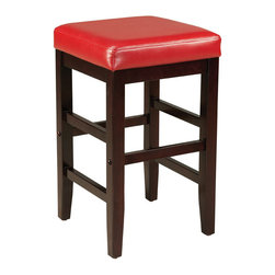 Standard Furniture - Standard Furniture Smart Stools Square Stool with Red Leatherette Seat - 24 Inch - Square Stool with Red Leatherette Seat belongs to Smart Stools collection by Standard Furniture. Smart Stools, like their name says, are smart additions to any kitchen or casual dining space offering compact and versatile seating options.