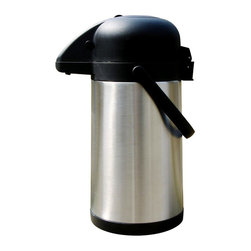 Brentwood - Brentwood CTSA-25 85-ounce Black Stainless Steel Coffee Thermos and Dispenser - The generous Brentwood coffee thermos with dispenser highlights a classic stainless steel finish and a black plastic color. This large-capacity thermos,features an 85-ounce capacity and is vacuum insulated with a double wall structure.