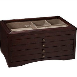 "Andover Jewelry Box, Large, Espresso stain - Designed like a great piece of furniture that offers maximum storage, the Andover Jewelry Box is generously sized and beautifully made. 15"" wide x 10"" deep x 8"" high Lined in linen. Features a bevel-framed glass lid that has a hinged opening. Two functional drawers and one faux drawer. Keeps smaller rings and earrings on top under glass, bracelets and bangles in the middle drawer and larger pieces in the double-sized bottom drawer. Beveled glass top may be monogrammed with up to 3 initials for an additional fee. Monogram will be centered on the box lid."