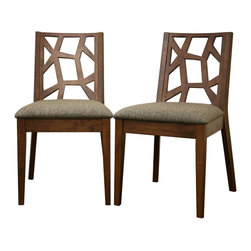 Baxton Studio - Baxton Studio Jenifer Modern Dining Chair (Set of 2) - With an asymmetrical back and beautiful, sturdy construction, the Jenifer Dining Chair takes the guesswork out of putting together a stylish gathering place. This chair features medium wood veneer over eco-friendly solid rubberwood. The seats are padded with foam for comfort and covered in multi-hued hazel twill fabric. Assembly is required.