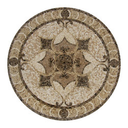 "Floor Medallions Online - 36"" Mosaic Medallion - Boliviar - With a dark and beautiful disposition, the Boliviar is perfect for those desiring a subtle, yet profound mosaic medallion."