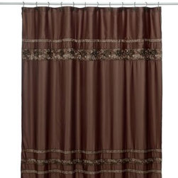 Croscill - Croscill Mosaic Tile 70-Inch x 75-Inch Fabric Shower Curtain - Beautiful embroidered shower curtain has the look of an inlaid tile border. The rich earth tones will bring a warm look to any decor.