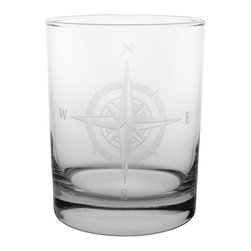 Rolf Glass - Compass Rose DOF 14oz, Set of 4 - Make yours a double, whether it's an actual cocktail or simply a glass of tonic water, it will taste better in these cut-glass double-old-fashioned tumblers. North, south, east or west, the elegantly etched compass will keep you centered.