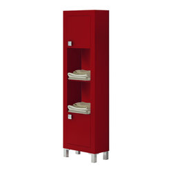Macral - Bella Linen Cabinet, Red Matte - Bella Linen Cabinet made in MDF red matte lacquer. The price ONLY includes the standing cabinet, all the rest items such as the vanity, the faucet, mirror...are NOT INCLUDED, but can be sold separately. Designed to be used in any indoor place of the house, very suitable and convenient. 2 doors and 2 holes with extra storage inside. Metallic polished chrome handles. Legs in matte chrome. Designed and manufactured in Spain.