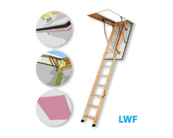 "Fakro - LWF 30x54 Wooden Insulated Attic Ladder 300lbs 10'1"" - The LWF 30/54 fire-resistant attic ladder provides an easy access to the loft performing at the same time the function of a blaze block in case of a fire inside the building. The hatch manufactured with the use of fireproof materials is equipped with an expanding peripheral seal which ensures tightness during fire. The LWF attic ladder posseses fire resistance of EI 30 minutes. The peripheral seal positioned in the groove milled in the frame provides a first-class tightness. The ladder's segment folding system and possibility to lock the hatch in fully open position ensure an ease of operating. The using safety is ensured thanks to the application of rounded side supporters and remaining hardware which do not pose any threat of cutting. The outer (visible) side of the hatch is smooth without any visible fixing elements.Features:"
