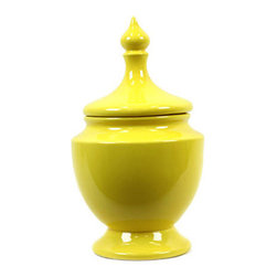 Lemon Drop Lidded Jar - This vibrant yellow vase is a perfect way to add a small pop of color to a space, especially since a little bit of yellow goes a long way.