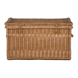Vintage Wicker Trunk - Large vintage baskets make great side tables that double as storage pieces.