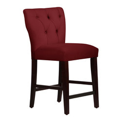 None - Made to Order Red Tufted Hourglass Counter Stool - Have a seat at the bar in fine style with this elegant hourglass counter stool. This chair features plush foam padding for superior comfort and a tufted back for vintage style. Red velvet upholstery complements the espresso legs.