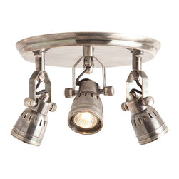 Kathy Kuo Home - Trey Industrial Loft 3 Light Vintage Silver Flush Mount Ceiling Fixture - Ceiling mounted lighting can deliver such bang for the proverbial buck - three directions of focused illumination from one fixture.  No wonder art galleries love these.  Crafted from vintage silver, these three deliver a strong effect for minimal effort or investment.