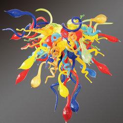 Viz Art Glass - Confetti Multi-Color Chandelier - - Hand-Blown Art Glass  - Adjustable  - Assembly Required Viz Art Glass - CON-M