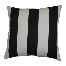 "The Pillow Collection - Leesburg Stripes Pillow Black White 18"" x 18"" - This accent pillow is a pleasant decor piece to add in any room. This square pillow offers a casual and chic appeal to your living space. You can showcase this throw pillow in your living room, bedroom or lounge area. The vertical black and white stripes are interesting. Made of 100% durable and soft cotton fabric. Hidden zipper closure for easy cover removal.  Knife edge finish on all four sides.  Reversible pillow with the same fabric on the back side.  Spot cleaning suggested."