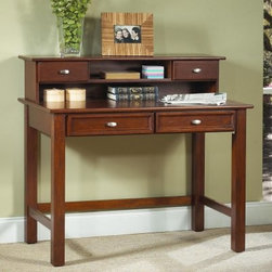 Home Styles Hanover Laptop Desk and Optional Hutch - Bring the Hanover Student Desk with Optional Hutch to your home to give yourself and your kids a nice spot to study pay the bills and write letters. Constructed of solid wood and wood veneers this desk is built to last. It features a cherry finish to give it a classic warm look. The desk features two easy-glide drawers with beveled fronts and simple silver drawer pulls. All you'll need to do is attach the legs and this desk is ready for use.The optional hutch is crafted from matching materials and features a matching finish. It also offers two drawers with silver pulls as well as an open storage space perfect for paper and note cards. The hutch also features a wire management opening to keep electrical cords straight and out of the way.About Home Styles: Unlike most ready-to-assemble manufacturers Home Styles uses solid hardwood and wood veneer construction for stability and durability. Its product engineers take great pride in designing furniture that is fashionable and functional as well as easy to assemble. Home Styles is known for providing casual attire for today's home.