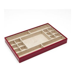 Wolf Designs - Queen's Court Standard Jewelry Tray - Red - A true Wolf Design classic. This Queen's Court standard jewelry tray from the royal collection of handcrafted jewel cases and travel accessories is made of red saffiano leather. The assortment features soft, brushed camel LusterLoc treated interior and multiple storage compartments for rings, earrings and things.