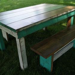 Farm Tables - Teal and White Plank Style Farm Table