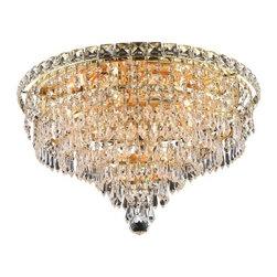 Elegant Lighting - Elegant Lighting 2526F18G Tranquil 8-Light, Single-Tier Flush Mount Crystal Chan - Elegant Lighting 2526F18G Tranquil 8-Light, Single-Tier Flush Mount Crystal Chandelier, Finished in Gold with Clear CrystalsElegant Lighting 2526F18G Features: