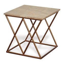 Kathy Kuo Home - Contemporary French Gold Crossing Accent Side Table - Quadruple your surface space by placing four of these accent tables together. Or, place them side-by-side for an impressive pair. A perfect host, the table's low profile and substantial marble top provide ample room for serving cocktails and appetizers. And the open metal cross base invites you to gather around on floor pillows for game night fun.