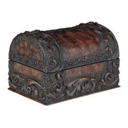 EuroLux Home - Box Traditional Cast Resin Carved Domed - Product Details