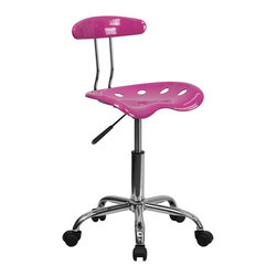 Flash Furniture - Flash Furniture Computer Task Chair in Pink - Flash Furniture - Office Chairs - LF214CANDYHEARTGG - On the market for something different or to add a little color to your home or office? This is the perfect chair with its uniquely designed seat that is surprisingly comfortable. This chair won't take up a lot of area if space is an issue. Chair can be used for a variety of reasons other than just at a desk.