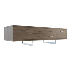 Modloft - Modloft | Allen Media Cabinet - Design by Modloft. The Allen Media Cabinet offers thoughtful design for televisions, stereos and peripherals. Designed to make the most of its space, this striking entertainment center appears to be suspended from the polished stainless steel legs which run from top to floor. Contains two center drawers for extra storage, and two outer cabinets with drop down doors to allow for easy A/V access with rear ventilation/wire holes.